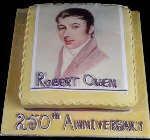 Robert Owen's 250th birthday cake from Ysgol Dafydd Llwyd